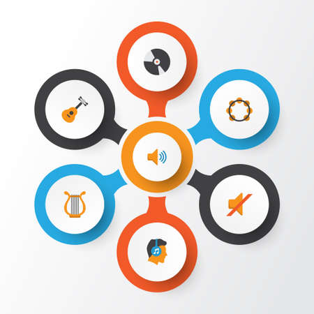 Audio Flat Icons Set. Collection Of Male, Audio, Quiet And Other Elements
