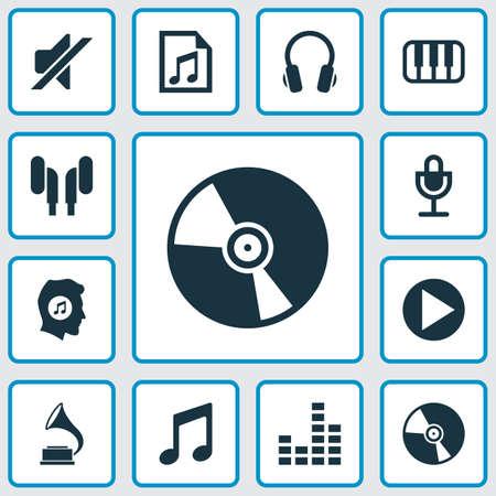 音楽のアイコンを設定します。イヤホン、オクターブ、イコライザー、およびその他の要素のコレクションです。また、ターン テーブルを制御する  イラスト・ベクター素材
