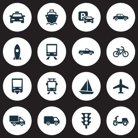 Collection of railway, yacht, van and other elements.
