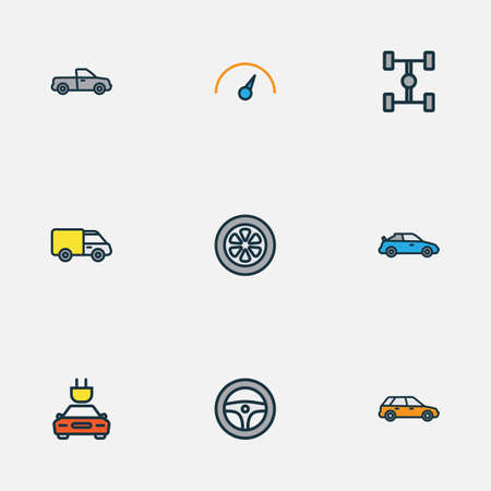 auto repair: Automobile Colorful Outline Icons Set. Collection Of Electric, Machine, Drive And Other Elements