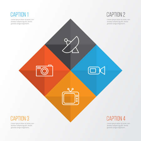 film industry: Device Icons Set. Collection Of Antenna, Digital Camera, Camcorder And Other Elements