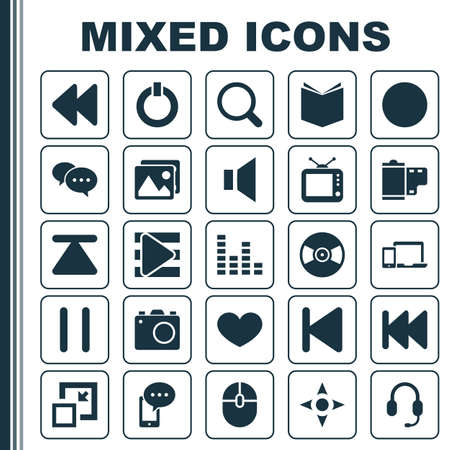 silent: Media Icons Set. Collection Of Photo, Control Device, Arrow And Other Elements