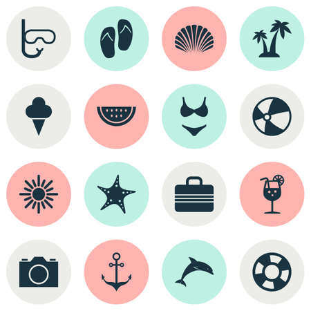 survive: Summer Icons Set. Collection Of Trees, Sea Star, Sorbet And Other Elements Illustration