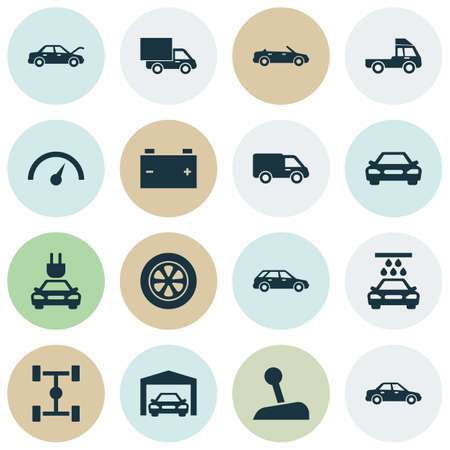 Automobile Icons Set. Collection Of Convertible Model, Plug, Hatchback And Other Elements