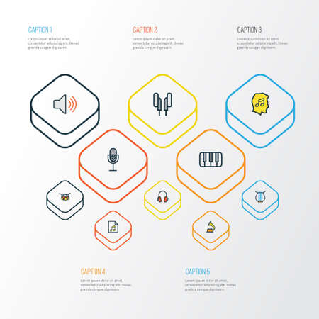 gramaphone: Multimedia Colorful Outline Icons Set. Collection Of List, Amplifier, Gramophone And Other Elements