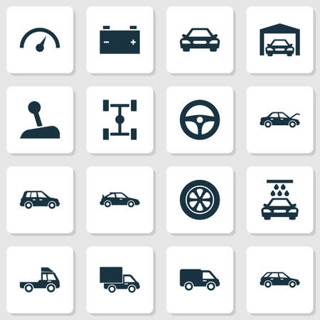Auto Icons Set. Collection Of Repairing, Crossover, Van And Other Elements