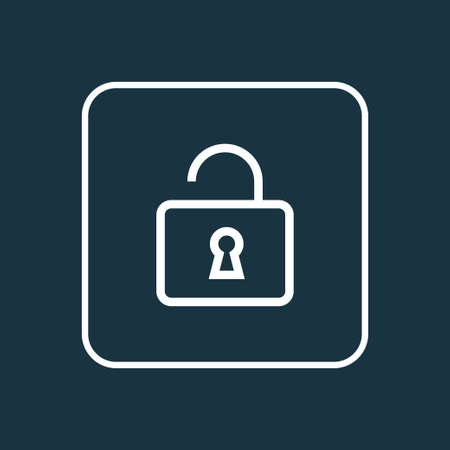 security symbol: Premium Quality Isolated Unlock Element In Trendy Style.  Open Outline Symbol.