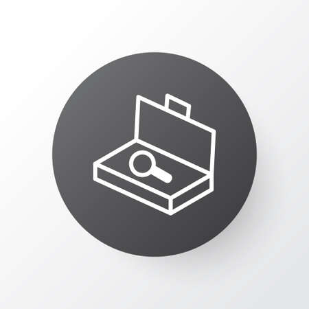 security symbol: Premium Quality Isolated Suitcase Checking  Element In Trendy Style.  Search Luggage Icon Symbol.