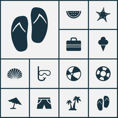 coast guard: Season Icons Set. Collection Of Trees, Baggage, Lifesaver And Other Elements