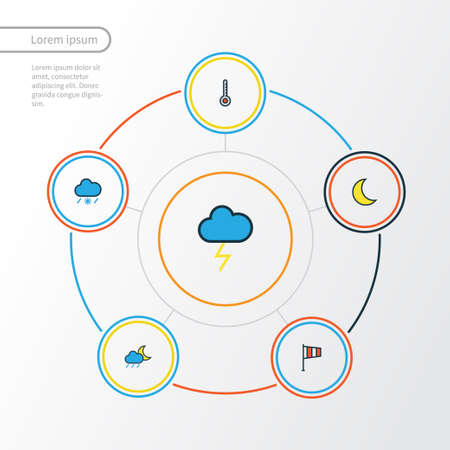 Weather Colorful Outline Icons Set. Collection Of Cloudburst, Flag, Scale And Other Elements Vector Illustration