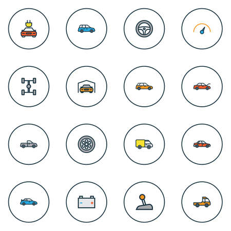 camion: Automobile Colorful Outline Icons Set. Collection Of Car, Level, Truck And Other Elements. Also Includes Symbols Such As Sedan, Station, Scheme.