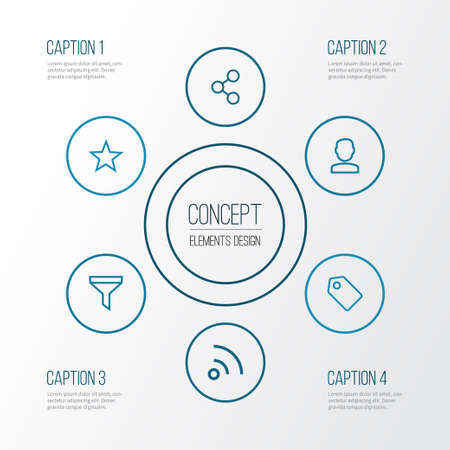 Interface Outline Icons Set. Collection Of Share, Tag, Feed And Other Elements Illustration