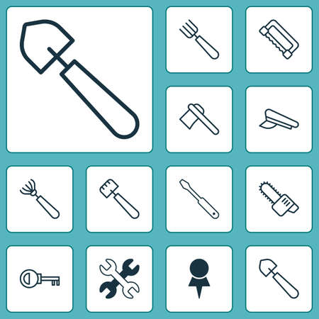 garden maintenance: Tools Icons Set. Collection Of Spatula, Cop Cap, Spanner And Other Elements