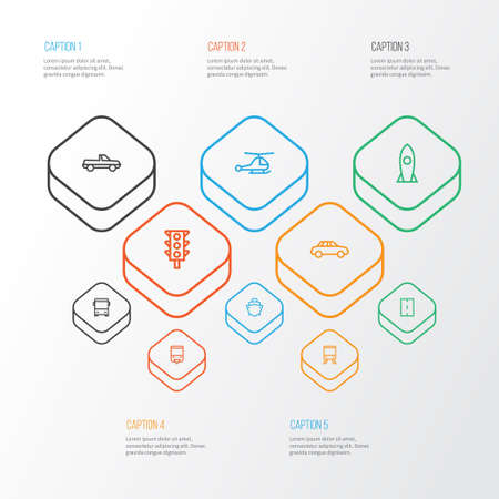 Shipment Outline Icons Set. Collection Of Train, Cargo, Pickup And Other Elements