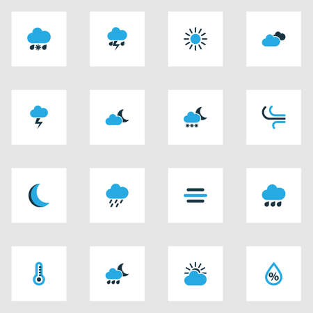 rainy season: Weather Colorful Icons Set. Collection Of Cold Weather, Lightning, Drizzle And Other Elements Illustration