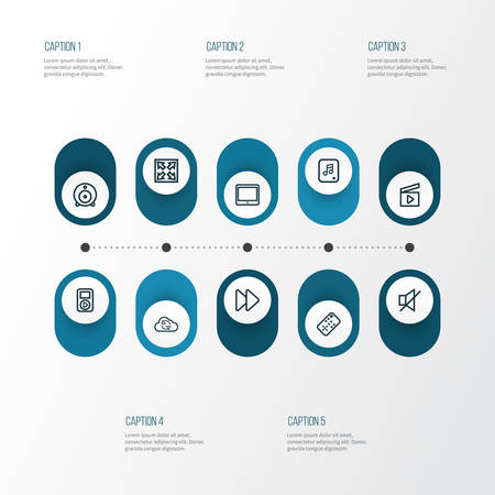 move controller: Multimedia Outline Icons Set. Collection Of Enlarge, Cloud, Player And Other Elements Illustration