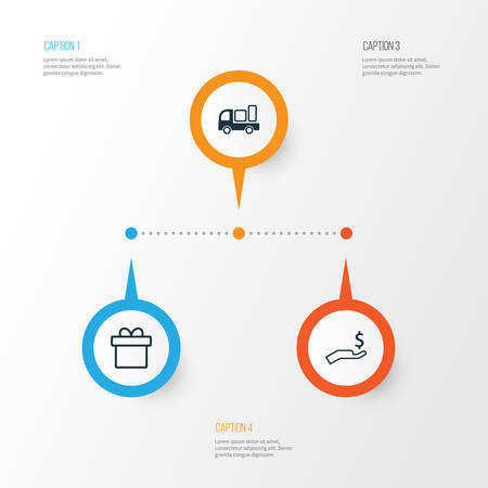 E-Commerce Icons Set. Collection Of Delivery, Present, Rich And Other Elements