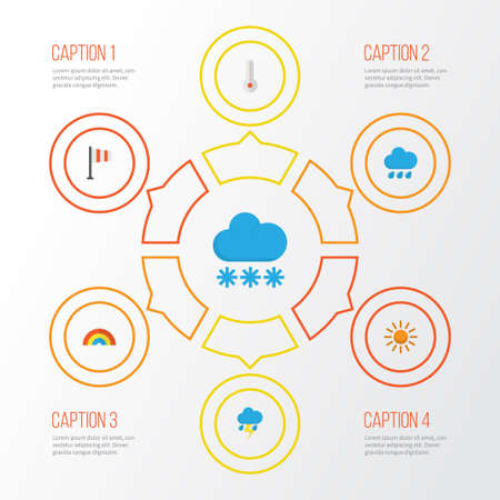 Air Flat Icons Set. Collection Of Snow, Lightning, Sun And Other Elements Illustration