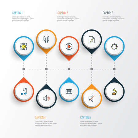 Audio Colorful Outline Icons Set. Collection Of Loudspeakers, Sound, Gramophone And Other Elements