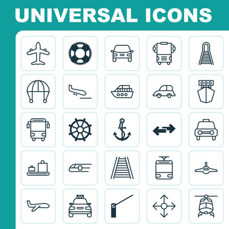 freight train: Shipping Icons Set. Collection Of Auto Car, Skydive, Streetcar And Other Elements