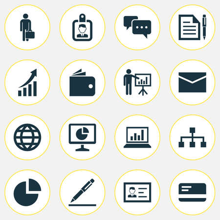 Job Icons Set. Collection Of Id Badge, Pen, Pie Bar And Other Elements
