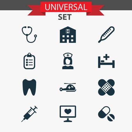 약물 아이콘을 설정합니다. 후퇴, 보모, 클로 및 다른 요소의 컬렉션입니다. 치료, 청진기, 후퇴 같은 기호도 포함됩니다.