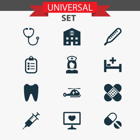 Drug Icons Set. Collection Of Retreat, Nanny, Claw And Other Elements. Also Includes Symbols Such As Cure, Stethoscope, Retreat.