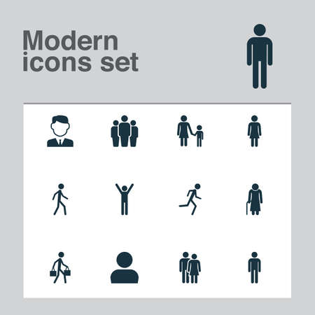 Person Icons Set. Collection Of Female, Family, User And Other Elements. Also Includes Symbols Such As Running, Person, Courier.