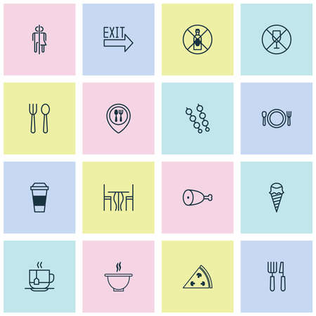 cook out: Restaurant Icons Set. Collection Of Sundae, Stick Barbecue, Doorway And Other Elements. Also Includes Symbols Such As Knife, Poultry, Restaurant.