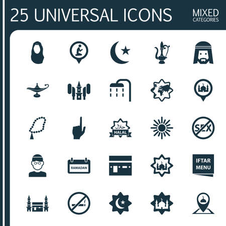 Religion Icons Set. Collection Of Masjid, Halal, Islamic And Other Elements