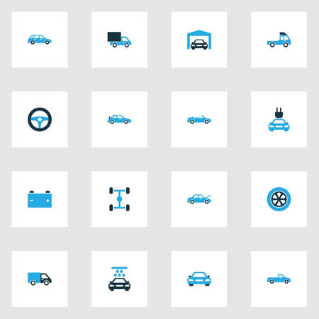 Car Colorful Icons Set. Collection Of Car, Cabriolet, Truck And Other Elements. Also Includes Symbols Such As Car, Pickup, Water. 向量圖像