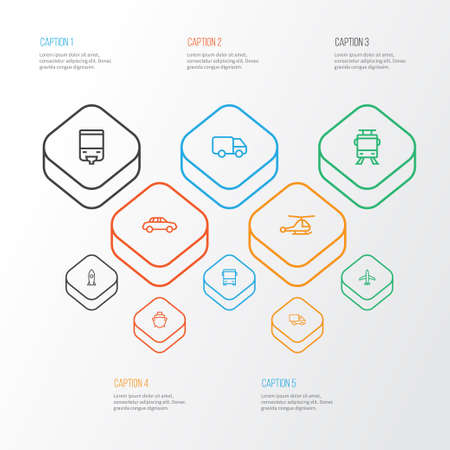 Shipment Outline Icons Set. Collection Of Streetcar, Bus, Bogie And Other Elements. Also Includes Symbols Such As Space, Aircraft, Omnibus. Illustration