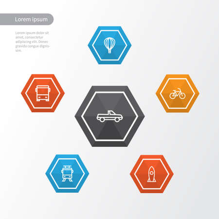 Transport Outline Icons Set. Collection Of Pickup, Bus, Rocket And Other Elements. Also Includes Symbols Such As Cycle, Bike, Bus. Illustration