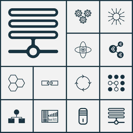 Robotics Icons Set. Collection Of Information Base, Mechanism Parts, Information Components And Other Elements Illustration