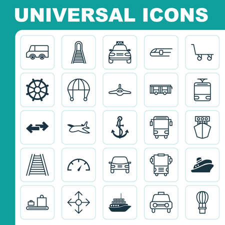 heavy: Delivery Icons Set. Collection Of Flight Basket, Navigation Arrows, Ship And Other Elements Illustration