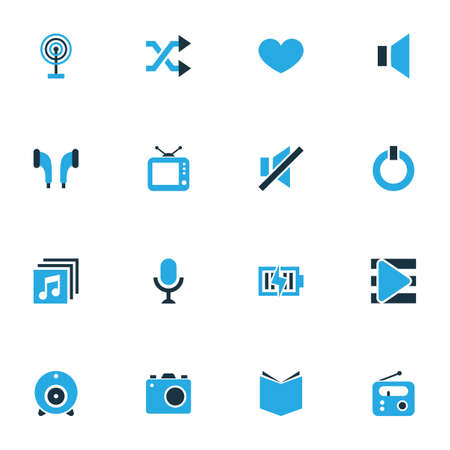 silent: Music Colorful Icons Set. Collection Of Cast, Television, Heart And Other Elements Illustration