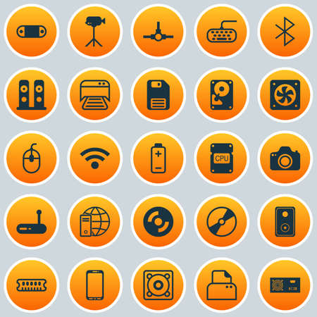 Hardware Icons Set. Collection Of Network Structure, Camera, Camcorder And Other Elements