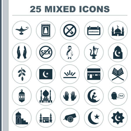 Religion Icons Set. Collection Of Man With Moon, Fruit, Ramadan And Other Elements. Also Includes Symbols Such As Fruit, Prayer, Hajj.