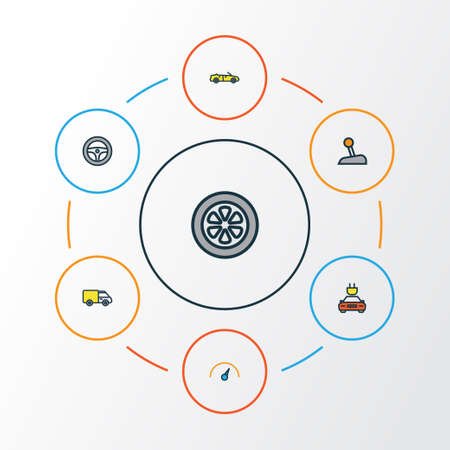 Auto Colorful Outline Icons Set. Collection Of Electric, Track, Level And Other Elements. Also Includes Symbols Such As Auto, Cabriolet, Drive. Illustration