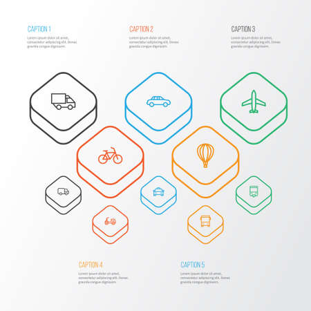 Transportation Outline Icons Set. Collection Of Bike, Bus, Car And Other Elements. Also Includes Symbols Such As Taxi, Carrier, Cycle.