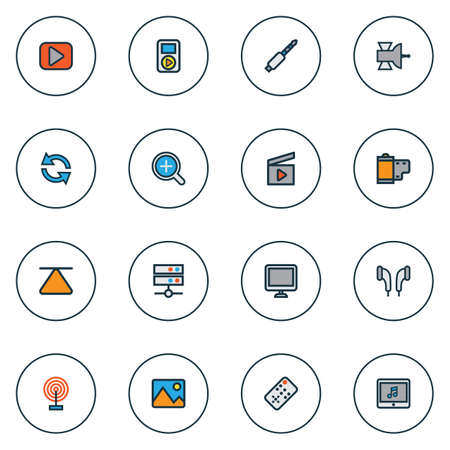 Media Colorful Outline Icons Set. Collection Of Screen, Eject, Picture And Other Elements. Also Includes Symbols Such As Top, Clap, Eject. Illustration