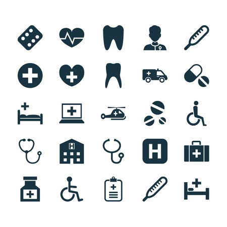polyclinic: Antibiotic Icons Set. Collection Of First-Aid, Polyclinic, Heal And Other Elements. Also Includes Symbols Such As Retreat, Pharmacy, Analyzes.