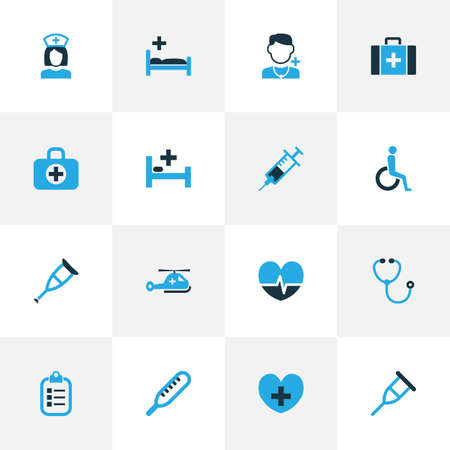 polyclinic: Antibiotic Colorful Icons Set. Collection Of Listener, Medic, Disabled And Other Elements.