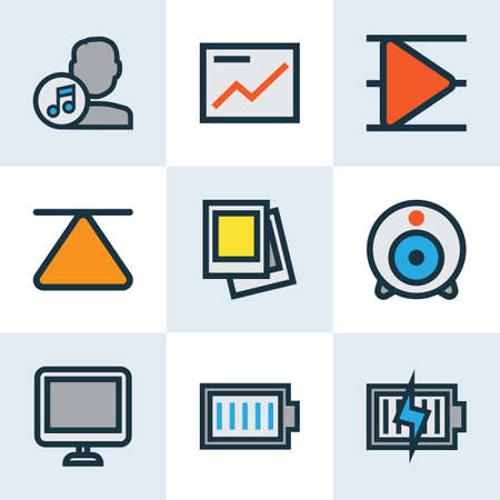 eject: Media Colorful Outline Icons Set. Collection Of Composer, Eject, Full Battery And Other Elements. Also Includes Symbols Such As Artist, Composer, Charging. Illustration