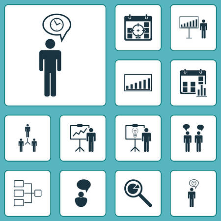 Authority Icons Set. Collection Of Group Organization, Solution Demonstration, Planning And Other Elements. Also Includes Symbols Such As Manage, Project, Chat.