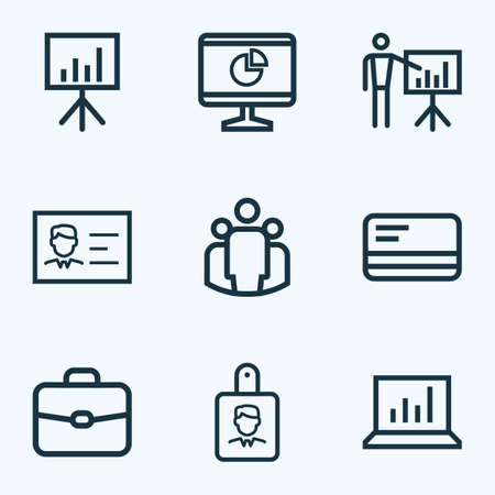 security monitor: Job Outline Icons Set. Collection Of Briefcase, Whiteboard, Business Presentation And Other Elements Illustration