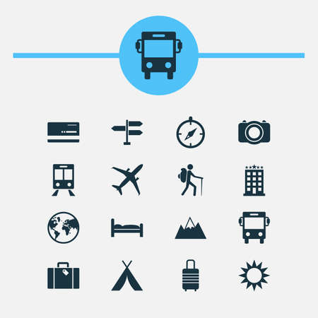 photography equipment: Journey Icons Set. Collection Of Planet, Direction, Transport And Other Elements. Also Includes Symbols Such As Planet, Visa, Doss. Illustration