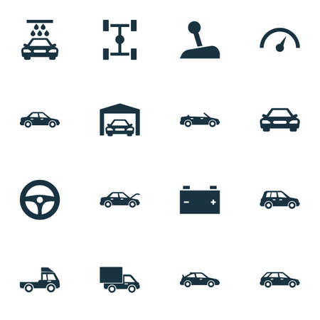 Auto Icons Set. Collection Of Convertible Model, Wheelbase, Automobile And Other Elements. Also Includes Symbols Such As Sports, Chronometer, Garage.