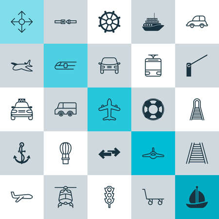 Delivery Icons Set. Collection Of Metro, Roadblock, Lifebuoy And Other Elements Stock Vector - 84674878