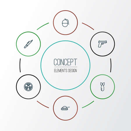 Combat Outline Icons Set. Collection Of Weapon, Cutter, Dynamite And Other Elements. Also Includes Symbols Such As Weapons, Hazar, Gun.